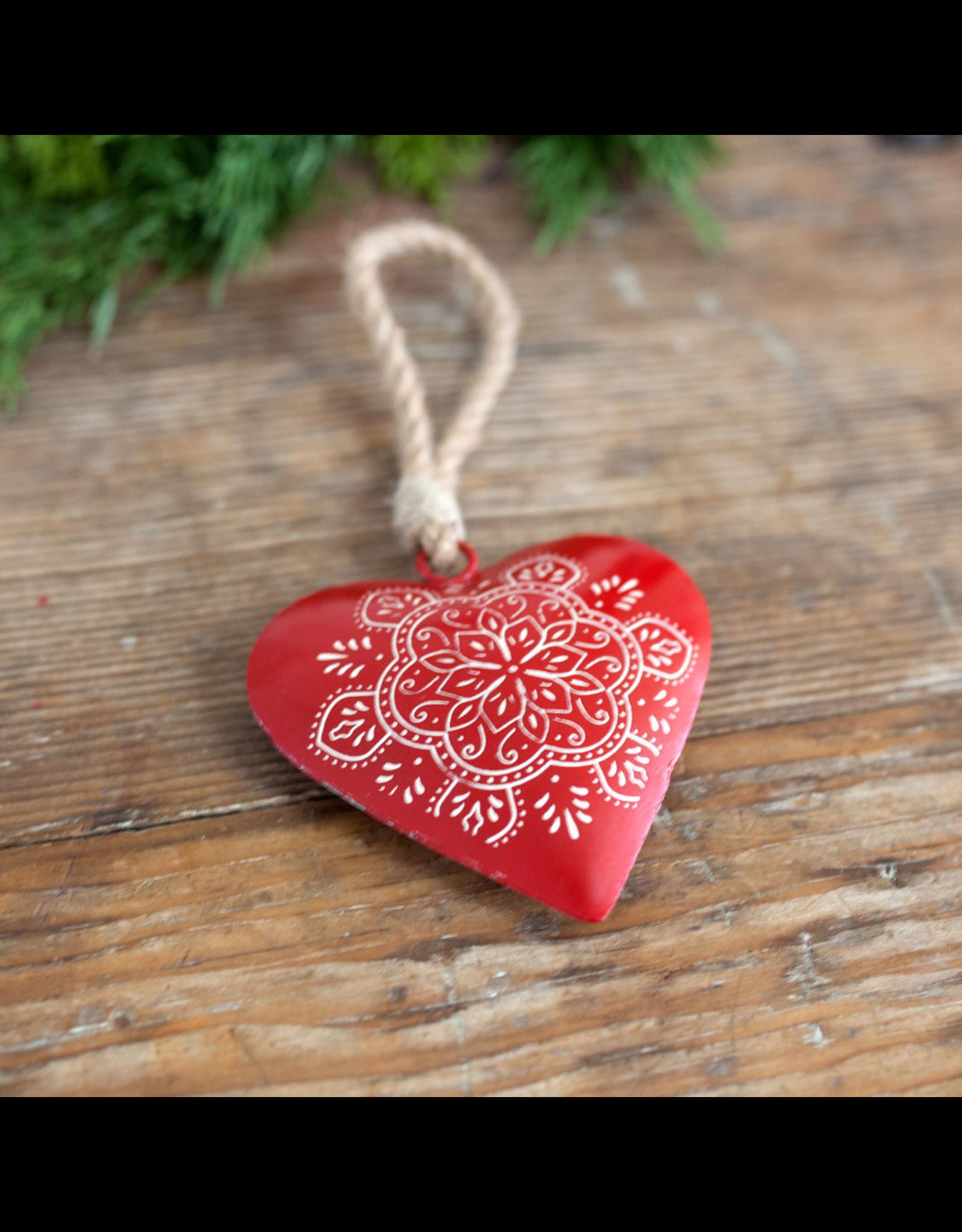 Metal Heart Ornament - Scandi