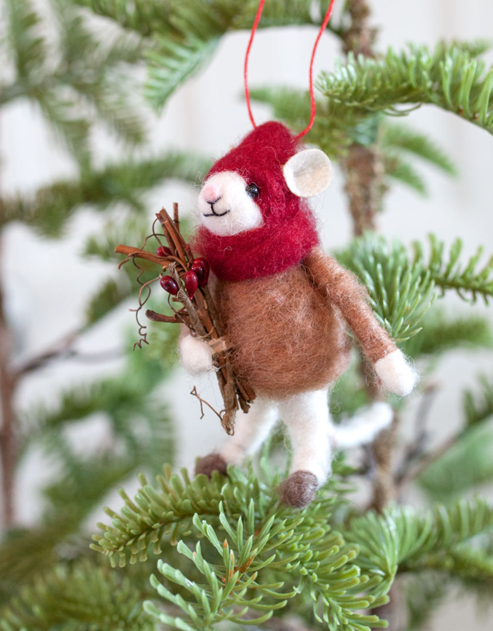 New Felted Wool Mouse Ornament