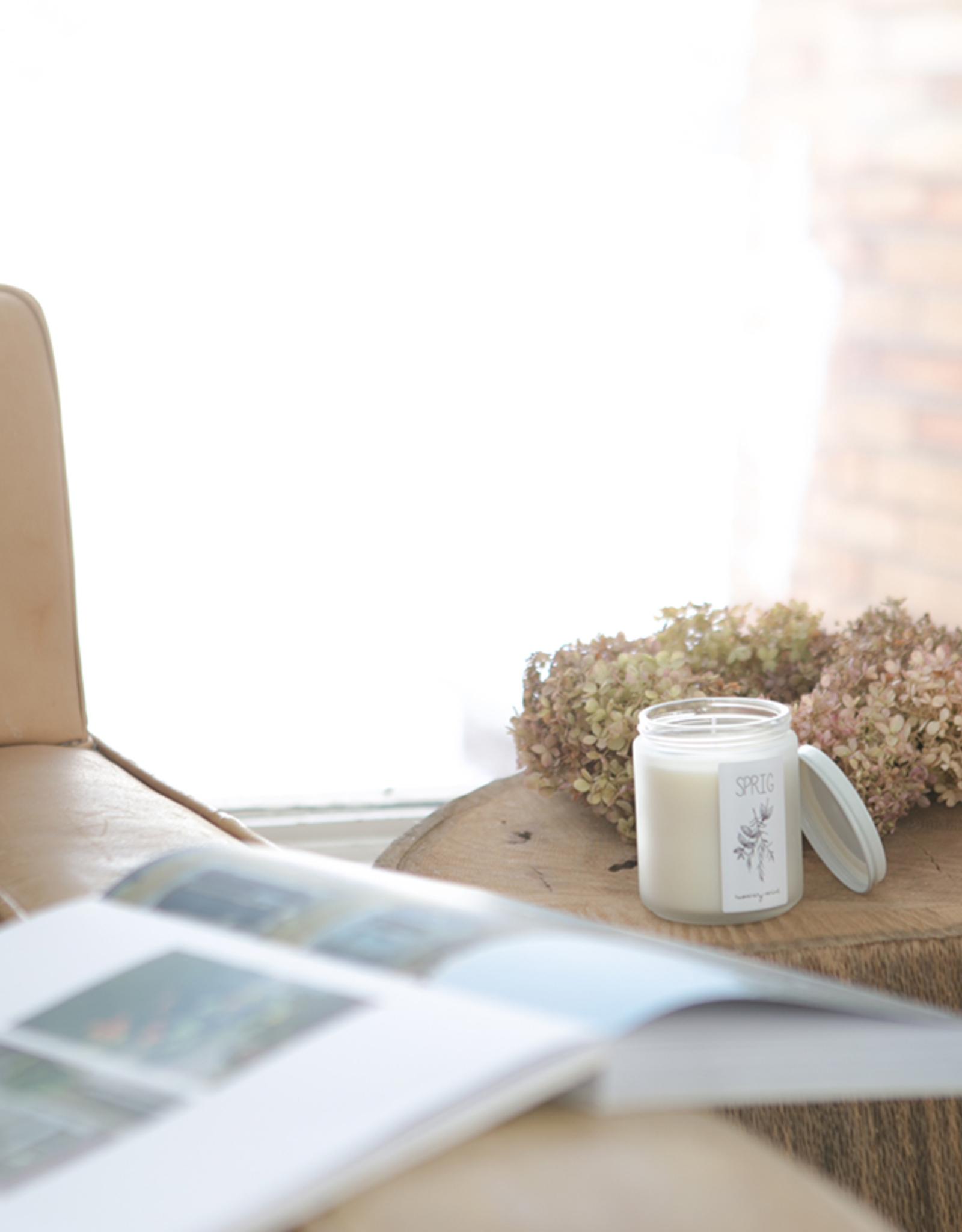 Consigned - handmade Sprig Coconut Wax Candle - Lavendar + Lemongrass