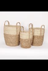 Woven Straw Basket - beige + natural