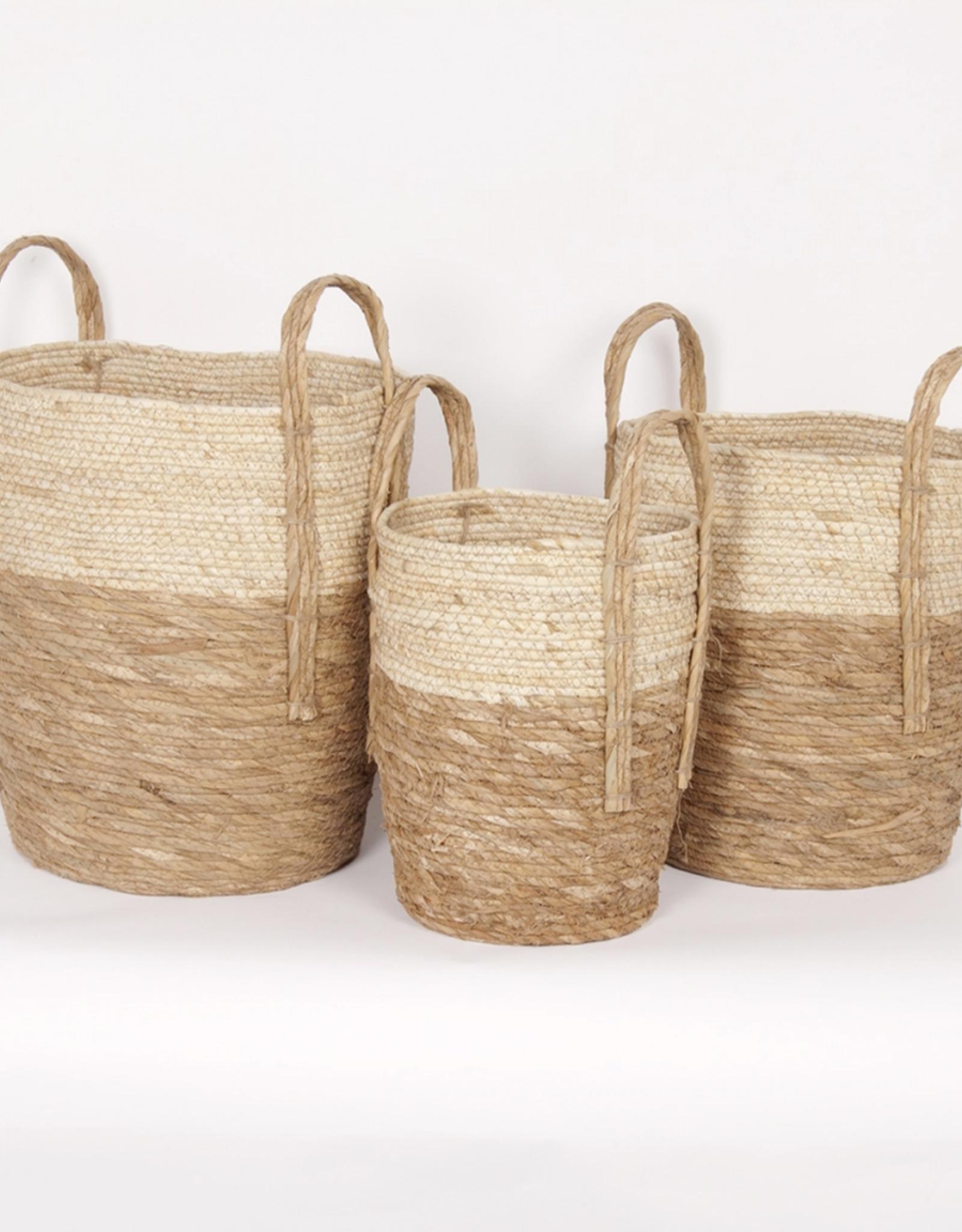 New Woven Straw Basket - beige + natural