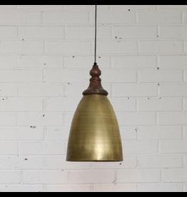 Turned Brass + Wood Pendant Light