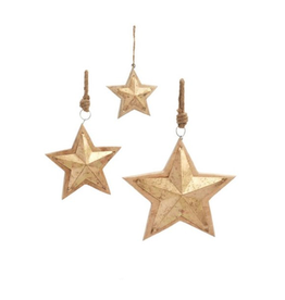 Gilded Carved Wood Star Ornament