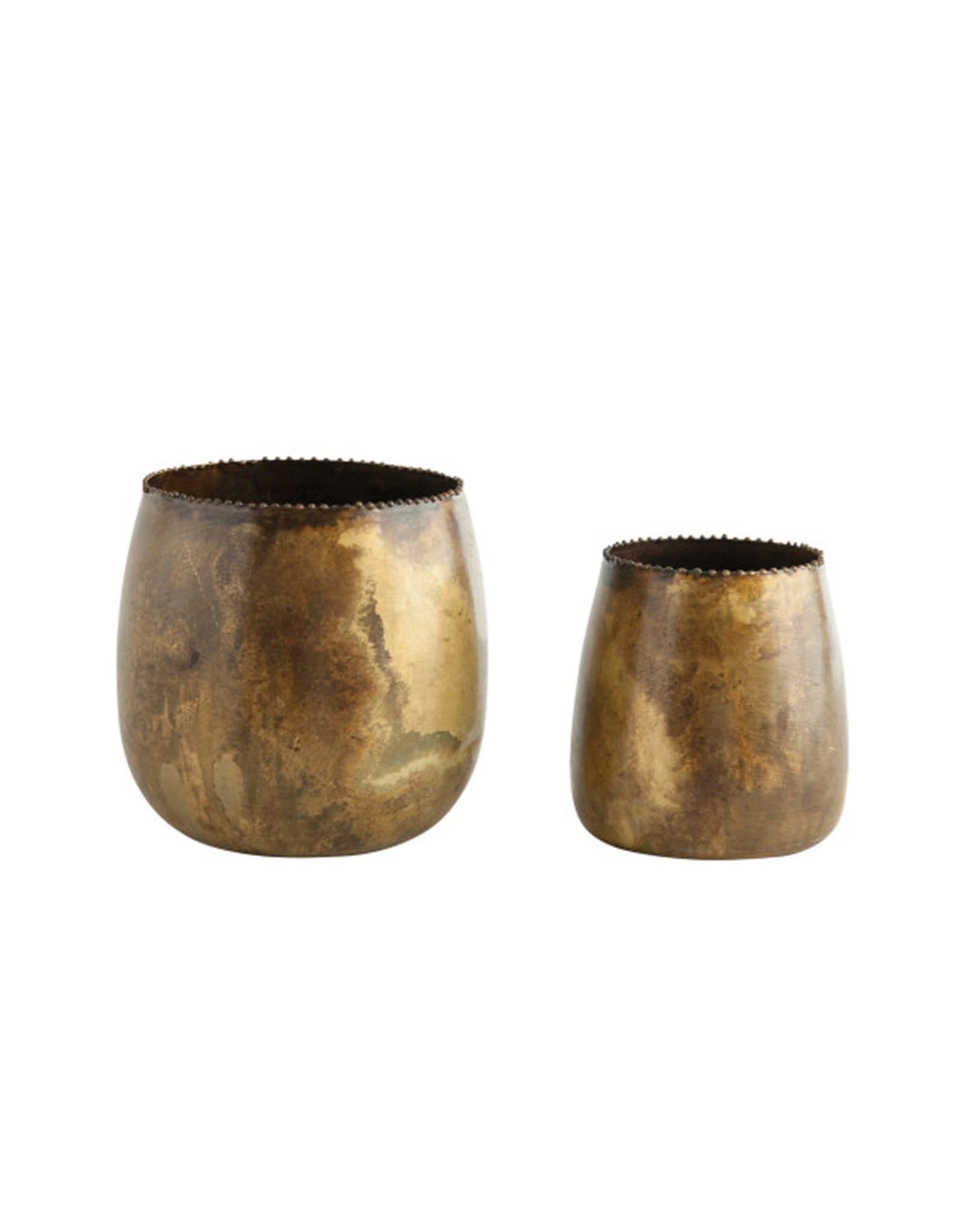 Antiqued Brass Planter
