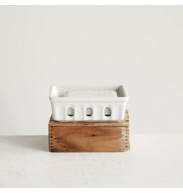 White Stoneware Berry Basket
