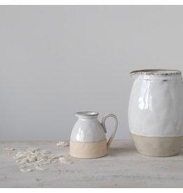 Stoneware Creamer - Buff + White
