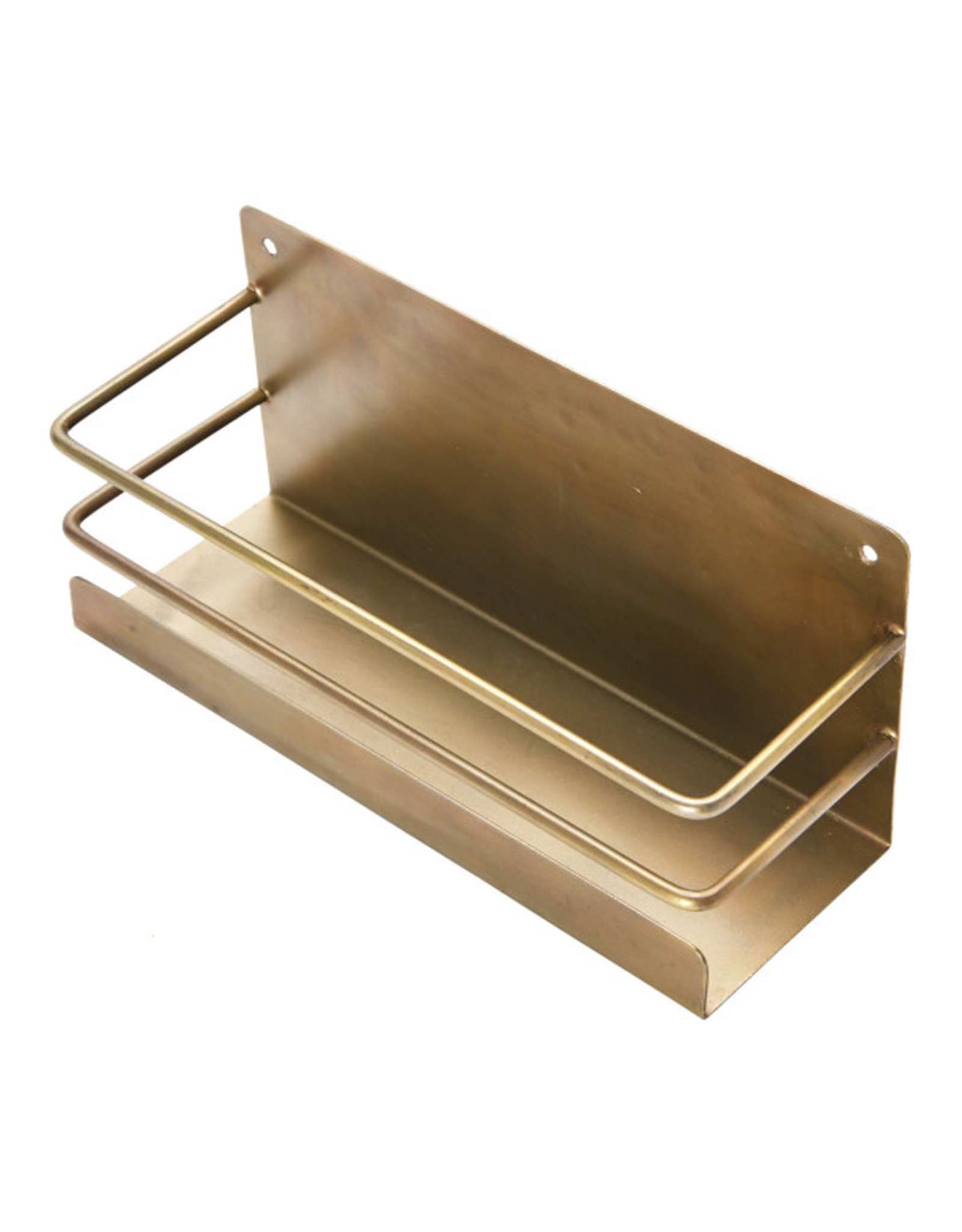 Metal Wall Rack - Antique Brass Finish