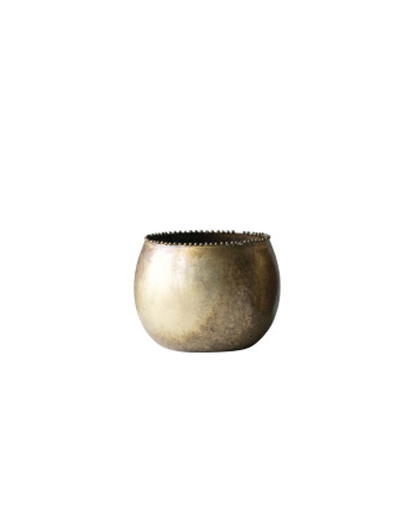Round Antiqued Brass Planter