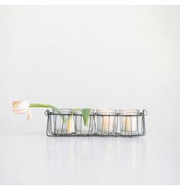 Glass Votive Holders in Wire Basket
