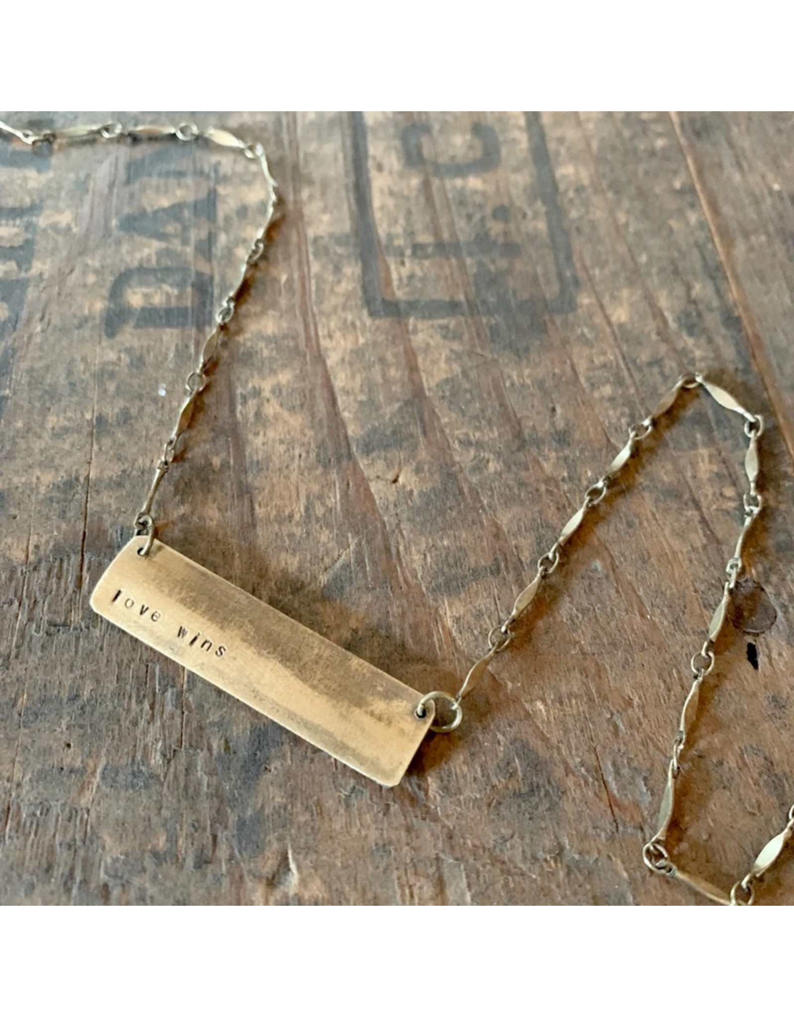Hand Stamped Necklace - Love Wins