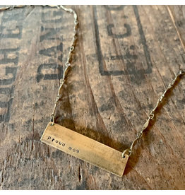Hand Stamped Necklace - Proud Mom