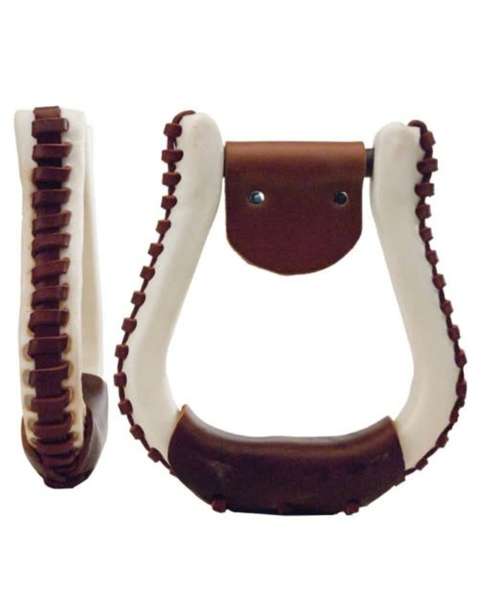 Western Rawhide Laced Contest Stirrups, Leather