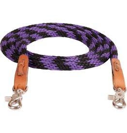 "Mustang Round Braided Trail Reins 8' x 1/2"" Black/Purple"