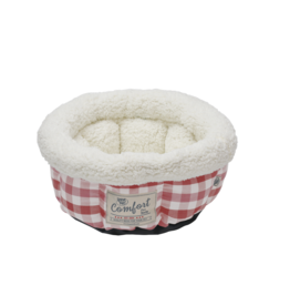 """Happy Tails Round Bed Cranberry Plaid 15"""""""