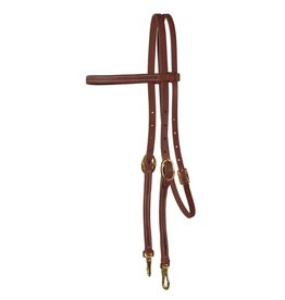 """Western Rawhide Browband Headstall w/ Snaps 5/8"""" Oiled Harness Leather"""
