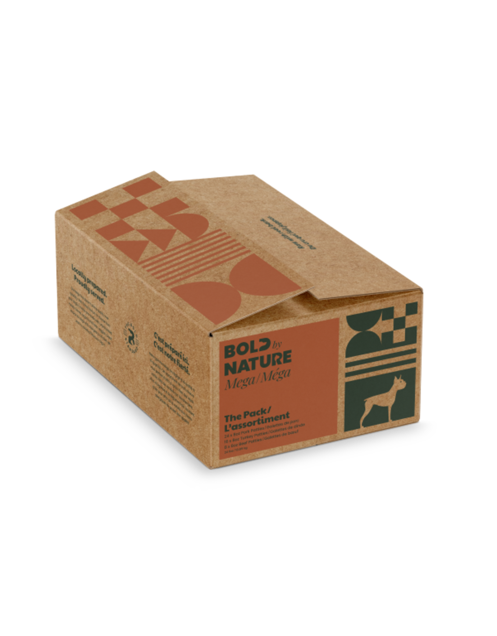 Mega Dog by Bold Raw Mega Dog Variety Pork/Turkey/Beef Patties [DOG] 24 lb