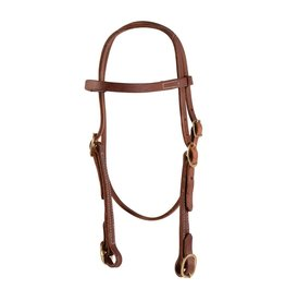 Western Rawhide Browband Headstall w/ Buckles Oiled Harness Leather
