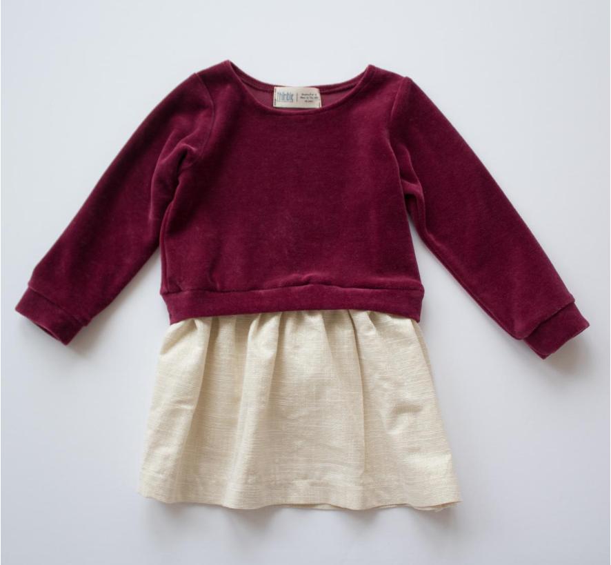 Thimble Thimble Sweatshirt Dress - Red