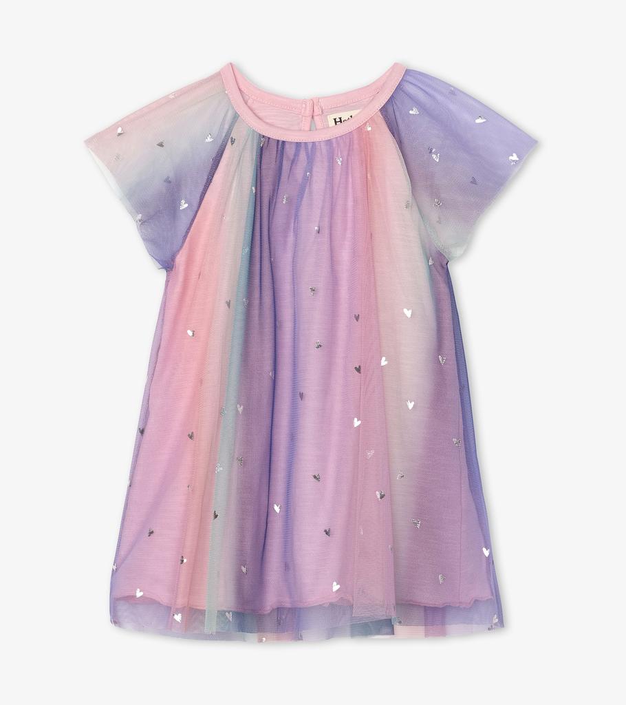 Hatley Hatley Metallic Hearts Rainbow Tulle Dress - BROO88040