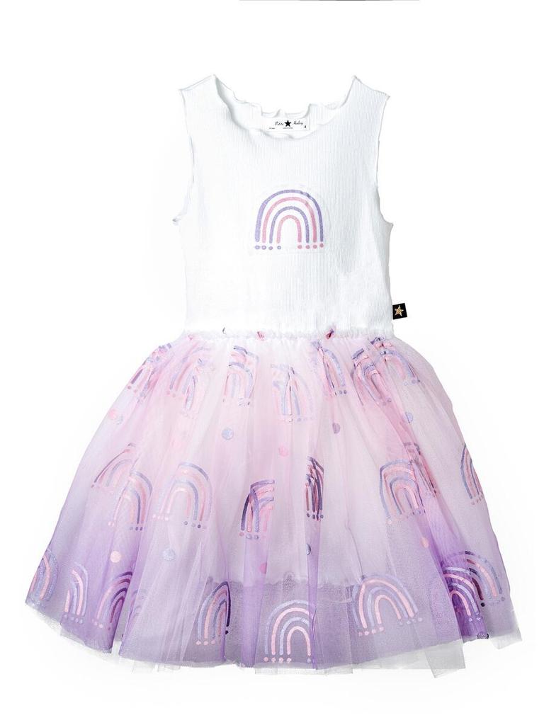 Petite Hailey Petite Hailey Glitter Rainbow Tutu Dress - Pink