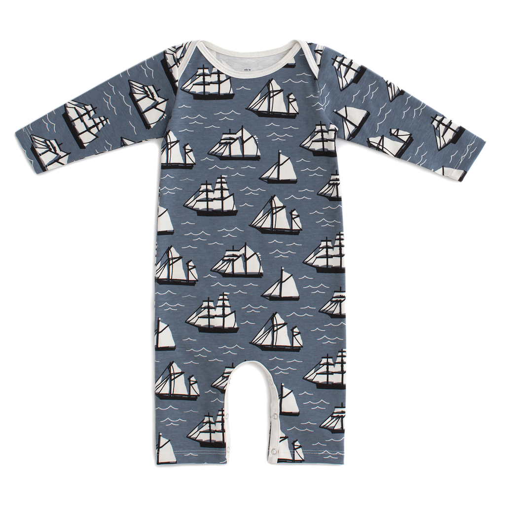 Winter Water Factory Winter Water Factory Vintage Sailboats Long Sleeve Romper