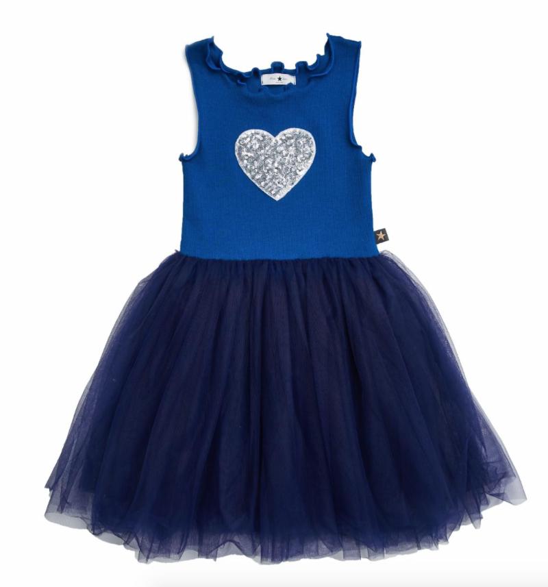 Petite Hailey Petite Hailey Tutu Dress with Heart - Blue