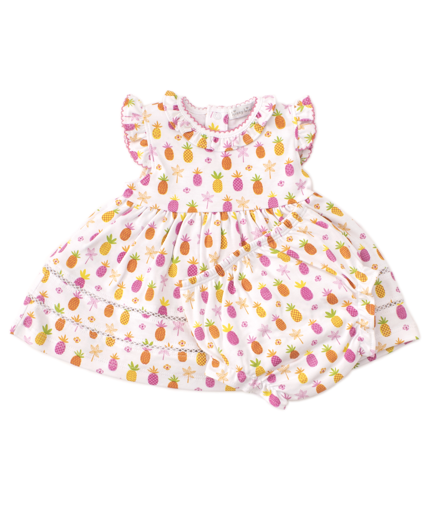 kissy kissy Kissy Kissy Prismatic Pineapples Dress with Diaper Cover