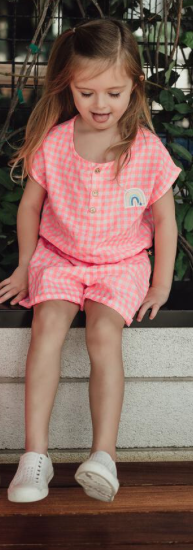 Petite Hailey Petite Hailey Pink Check Playsuit