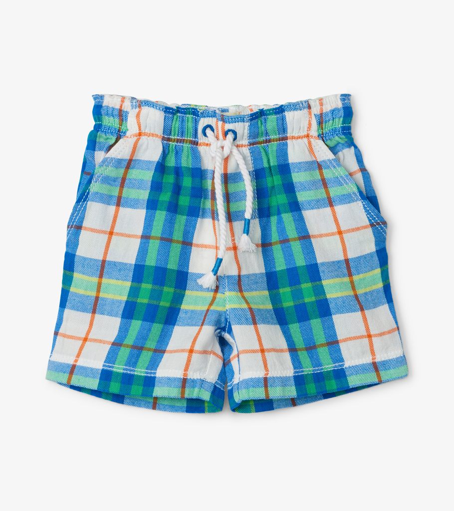 Hatley Hatley Tiny Tropical Plaid Woven Shorts