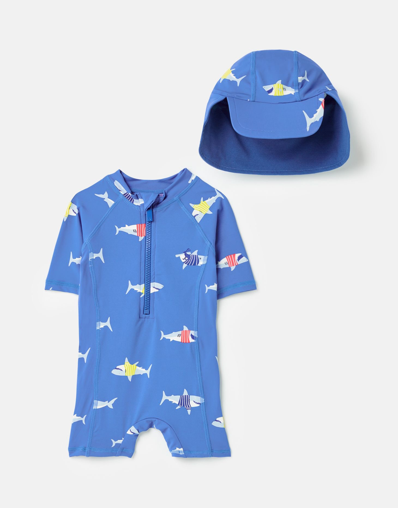 Joules Joules Shark Printed Swim Suit & Hat Set