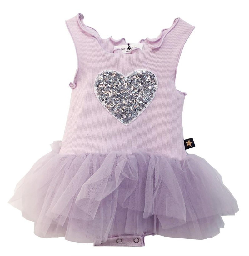 Petite Hailey Petite Hailey Baby Tutu Dress with Heart - Lavender