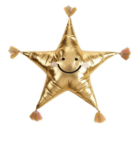 Gold Star Shaped Embroidered Pillow With Tassels