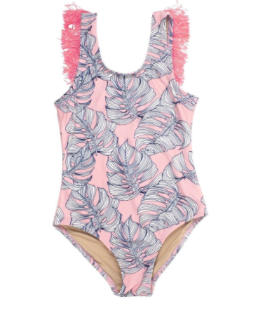 Shade Critters Shade Critters Fringe Leaf Print One Piece