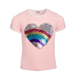 Lola & the Boys Lola & the Boys Rainbow Heart Flip Sequin Ringer T-Shirt