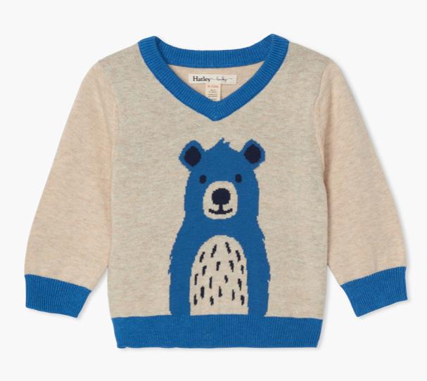 Hatley Hatley Cheerful Bear V-Neck Sweater