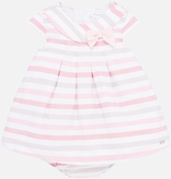 Mayoral Mayoral Striped Baby Dress with Diaper Cover