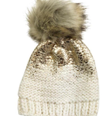 The Blueberry Hill The Blueberry Hill Gold Pearl Metallic Hat with Faux Fur Pom
