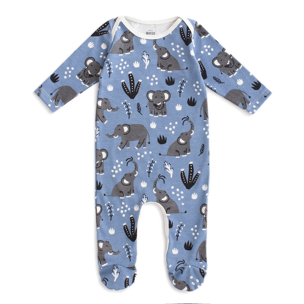 Winter Water Factory Winter Water Factory Elephants Footed Romper - Blue