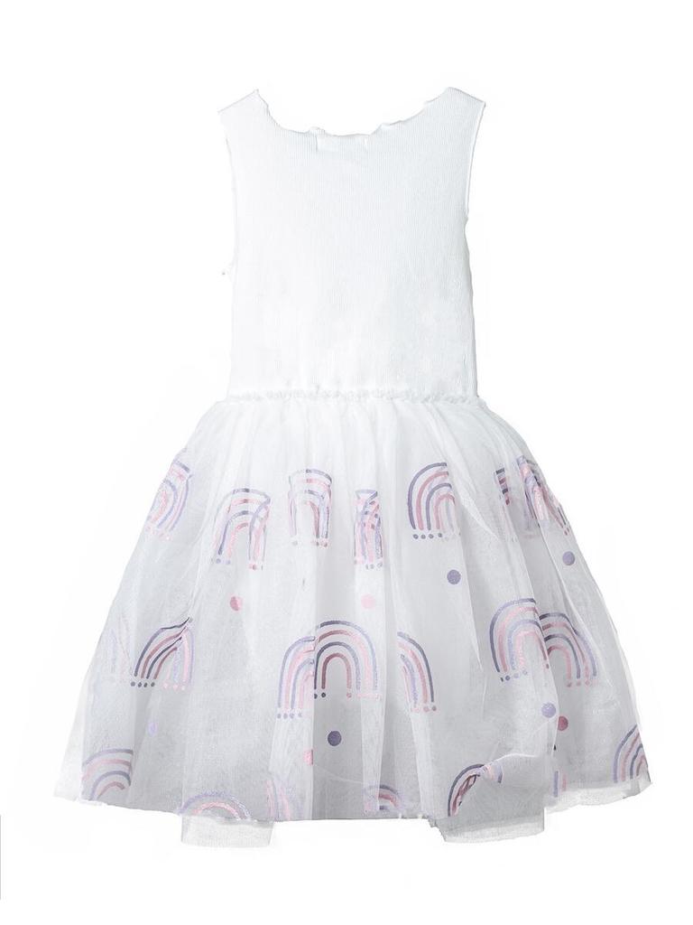 Petite Hailey Petite Hailey Glitter Rainbow Tutu Dress - White
