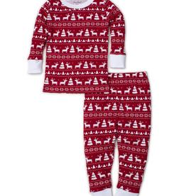 kissy kissy Kissy Kissy Christmas Deer Print Pajama Set - Red