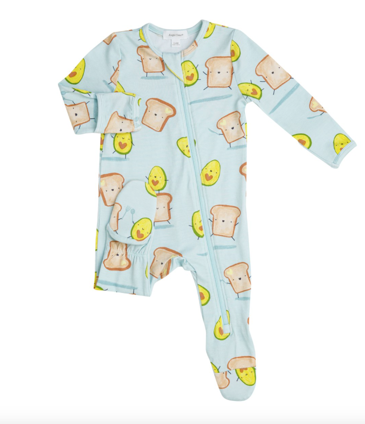 Angel Dear Angel Dear Avocado + Toast Zipper Footie