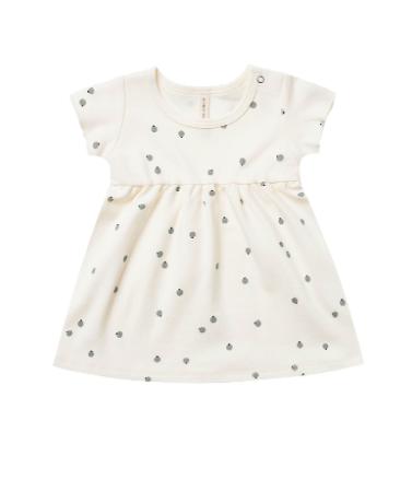 Quincy Mae Quincy Mae Organic Short Sleeve Baby Dress - Ivory