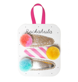 Rockahula Candy Stripe Pom Pom Clips