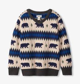 Hatley Hatley  Bear Fair Isle V-Neck Sweater