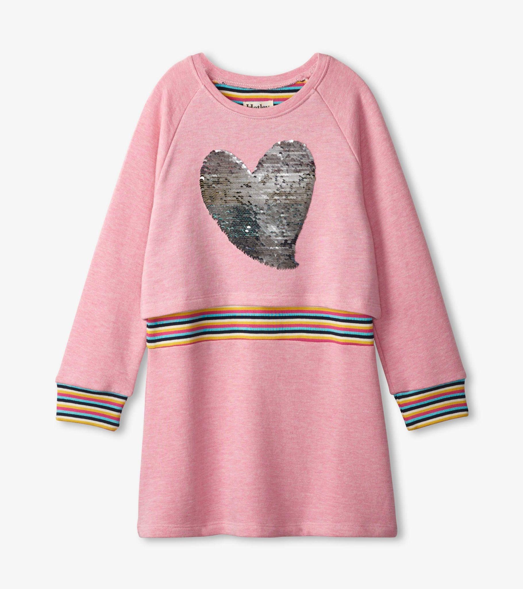 Hatley Hatley Rainbow Heart Flip Sequin Dress