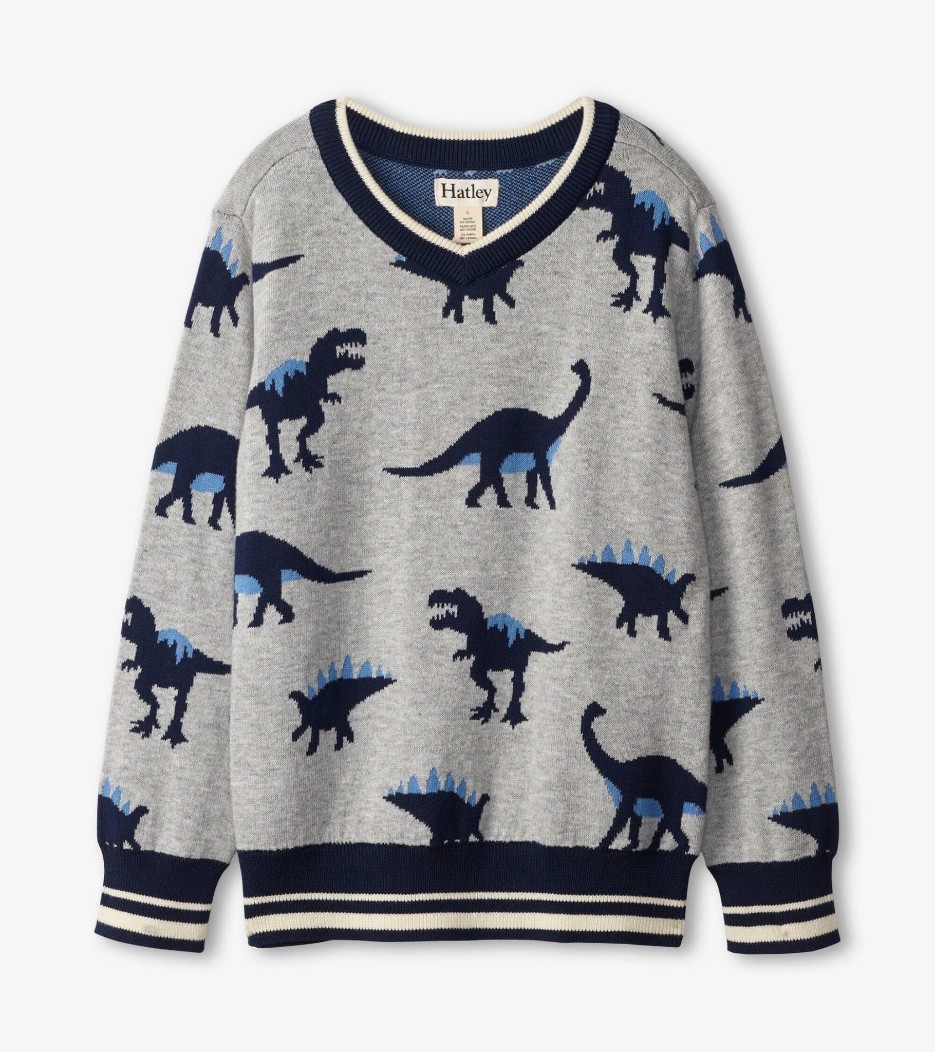 Hatley Hatley Dino Herb V-Neck Sweater