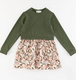 Thimble Thimble Classic Sweatshirt Dress in Moss Orchard
