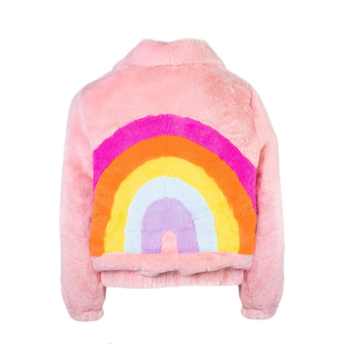 Lola & the Boys Lola & the Boys Rainbow Faux Fur Coat