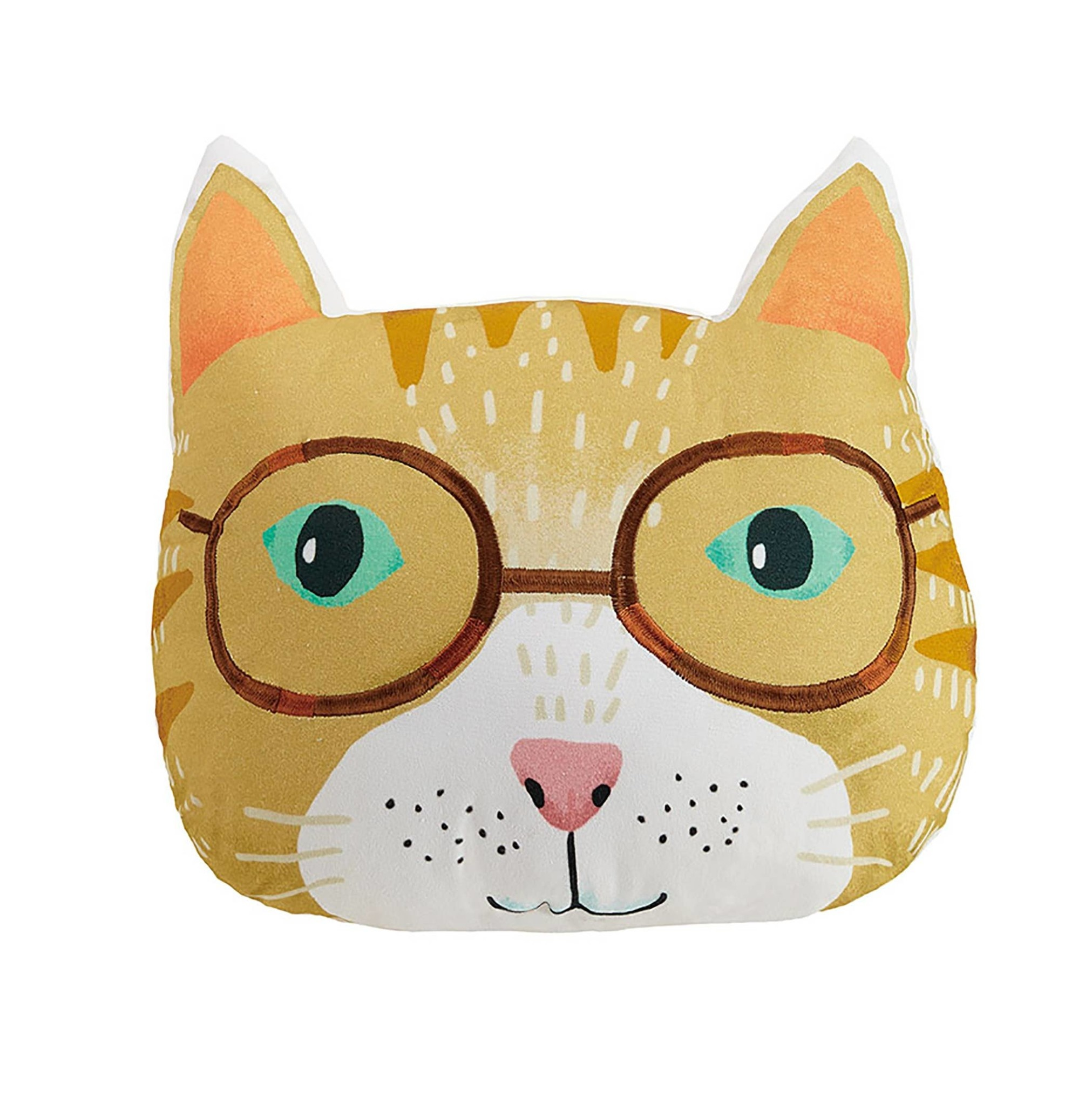 Cat Shaped Printed Embroidered Pillow
