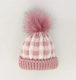 Huggalugs Huggalugs Rosy Pink Buffalo Check Pom Pom Beanie Hat